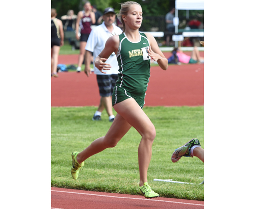 Bishop McGann-Mercy's Meg Tuthill ran to a second-place finish in the 800 meters in . (Credit: Robert O'Rourk)