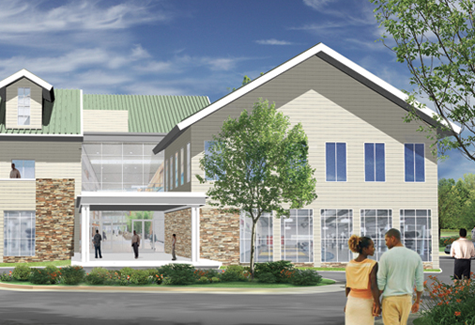 An artist's rendering of the main atrium at the Family Community Life Center's recreational and other facilities.