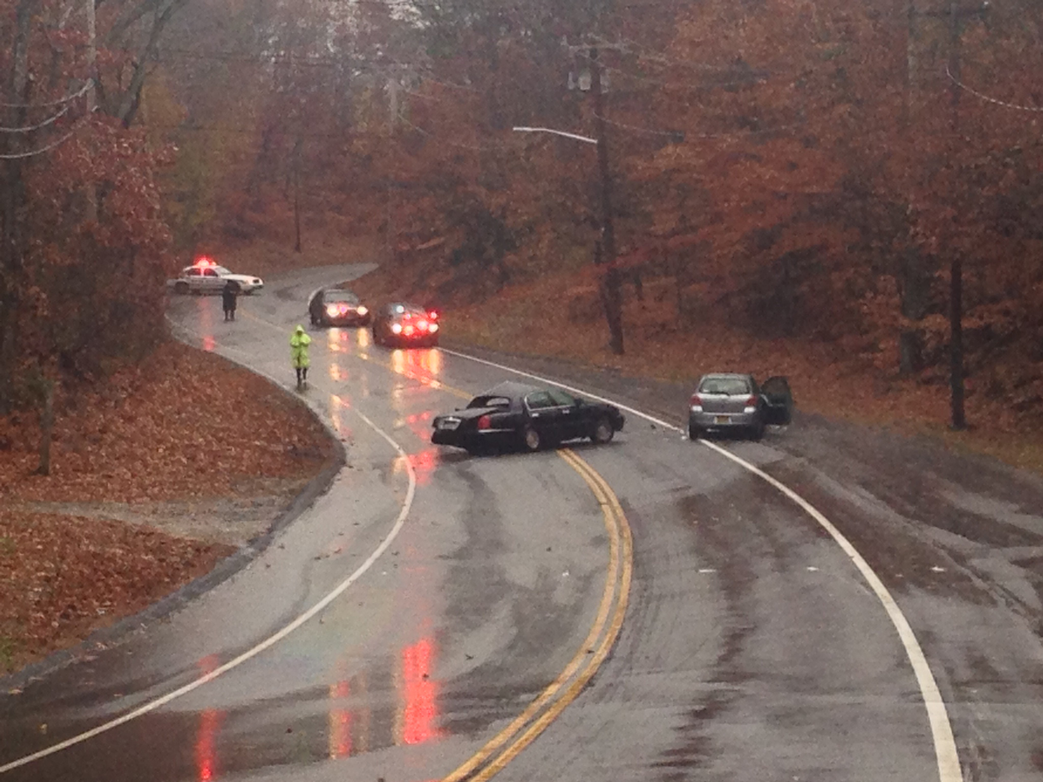 Sound Avenue is expected to be closed near the scene of the crash for several more hours. (Credit: Joe Werkmeister)
