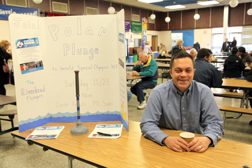 Gary Karlson is the team captain for the RCSD Plungers. He is shown here during the Superintendent's Conference Day sharing information on this event.