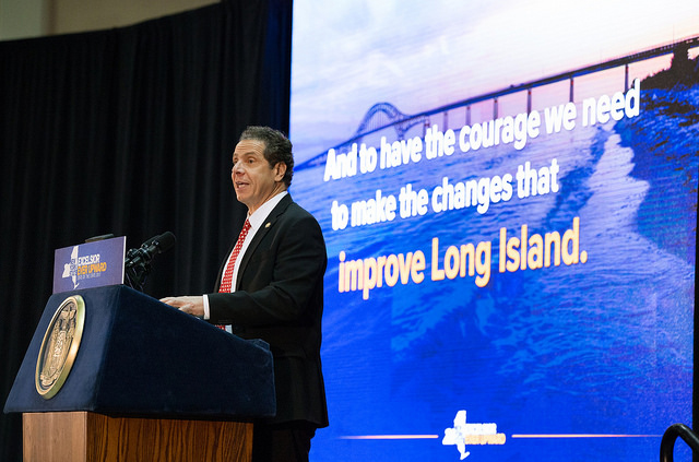 Gov. Cuomo delivers his Long Island State of the State speech last week. (Credit: Gov. Cuomo's office)
