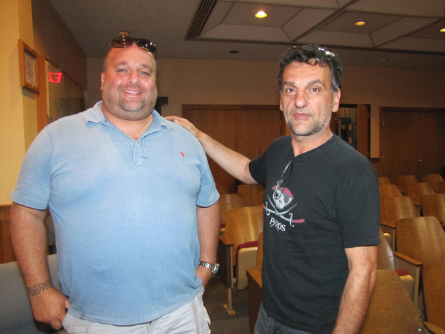 John Peragine of PeraBell Food Bar and John Mantzopoulas of Mazi were elected to the Riverhead BID management association Wednesday. Photo by Tim Gannon.