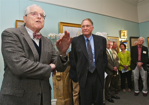 Suffolk County historian Peter Fox Cohalan (left) dedicates the Suffolk County Historical Society's new gallery to Noel Gish (right) Thursday. (Credit: Barbaraellen Koch)