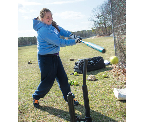 ROBERT O'ROURK PHOTO  |  Cold weather didn't stop Alexis Biemer of Shoreham-Wading River from working on her swing.