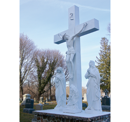 The crucifix on the grounds of St. John the Evangelist Church in Riverhead. (Credit: Barbaraellen Koch)