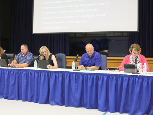 The Riverhead school board at Tuesday's meeting in Riverside. (Credit: Jen Nuzzo)