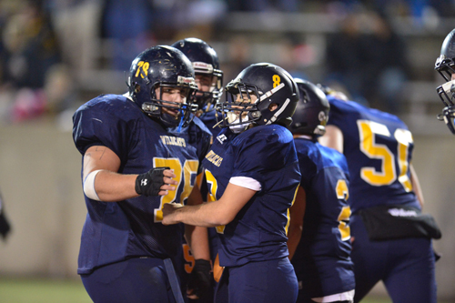 The Shoreham-Wading River football team during the Long Island Championship game in November. (Credit: Robert O'Rourk, file)