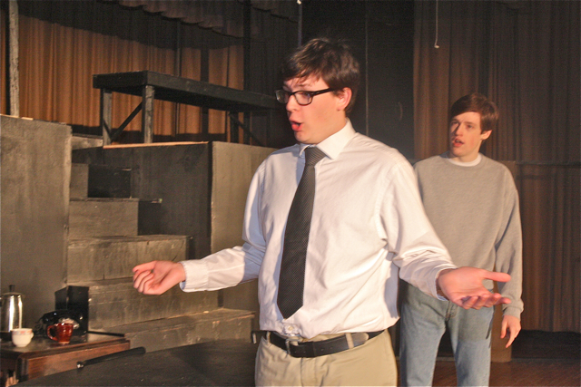 Ian Byrne of Baiting Hollow as Willy Loman and Patrick O'Brien of Riverhead as Biff his son. (Barbarallen Koch photo)