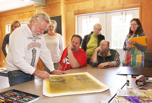 BARBARAELLEN KOCH FILE PHOTO | Dan Welden of Sag Harbor conducting a demonstration of his printmaking process at East End Arts in Riverhead.