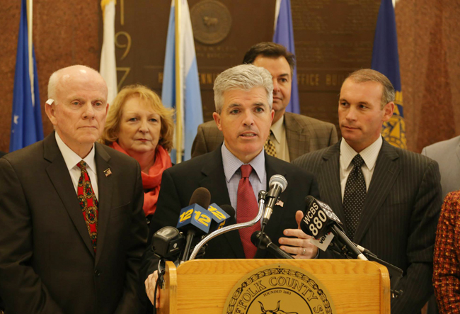 Suffolk County Executive Steve Bellone speaks during Monday's announcement that the county will not pursue school zone cameras. (Credit: courtesy photo)