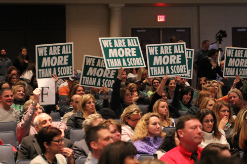 CARRIE MILLER FILE PHOTO  |  Educators packed a forum at Eastport-South Manor High School in December to express their displeasure over Common Core.
