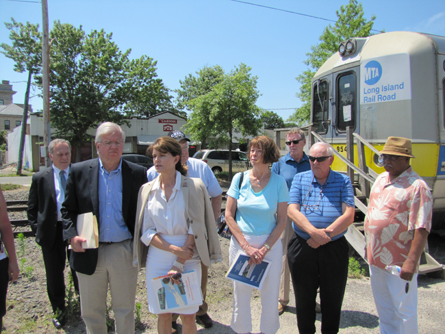 State Assemblyman Fred Thiele, former Southampton Supervisor Anna Throne-Holst and others held a press conference calling for better public transportation Monday in Riverhead. Photo by Tim Gannon