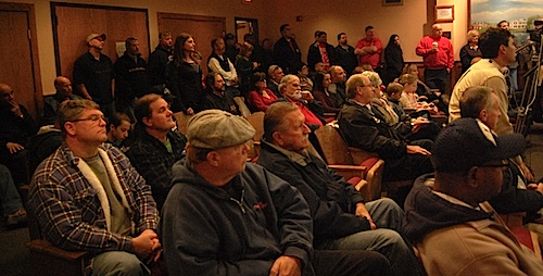 More than 50 people rallied at Riverhead Town Hall Saturday to support bring Verizon FiOS to Riverhead. (Cyndi Murray photo)